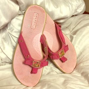Hot Pink Sperry Flip Flops rhinestones Size 8M